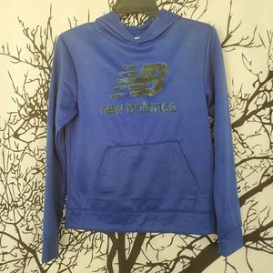 NEW BALANCE Blue Hoodie Sweater Youth Largr 14/16